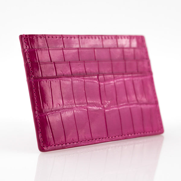 Fuschia Crocodile Skin Card Holder