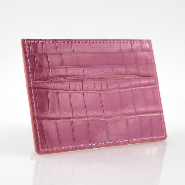 Pink Crocodile Skin Card Holder