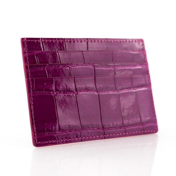 Purple Crocodile Skin Card Holder