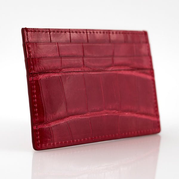 Red Crocodile Skin Card Holder
