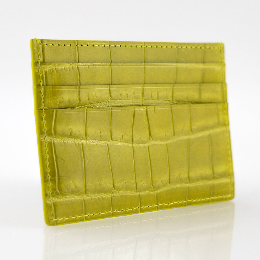 Yellow Crocodile Skin Card Holder