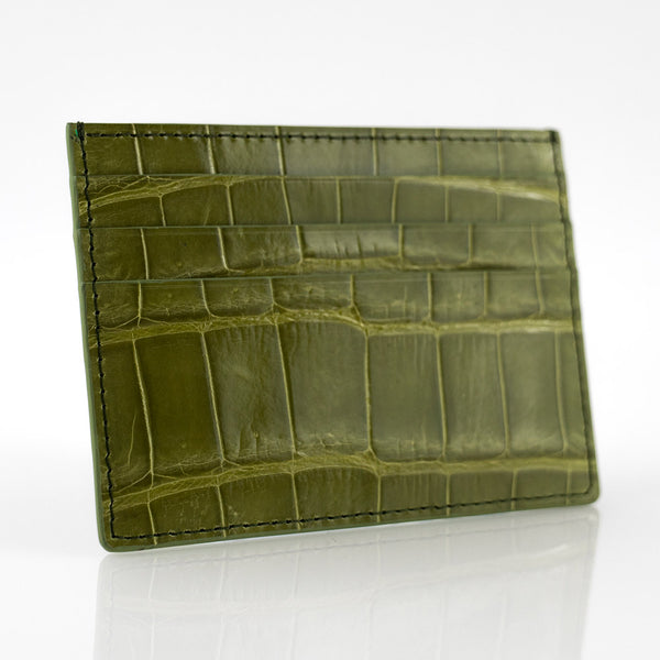 Olive Crocodile Skin Card Holder