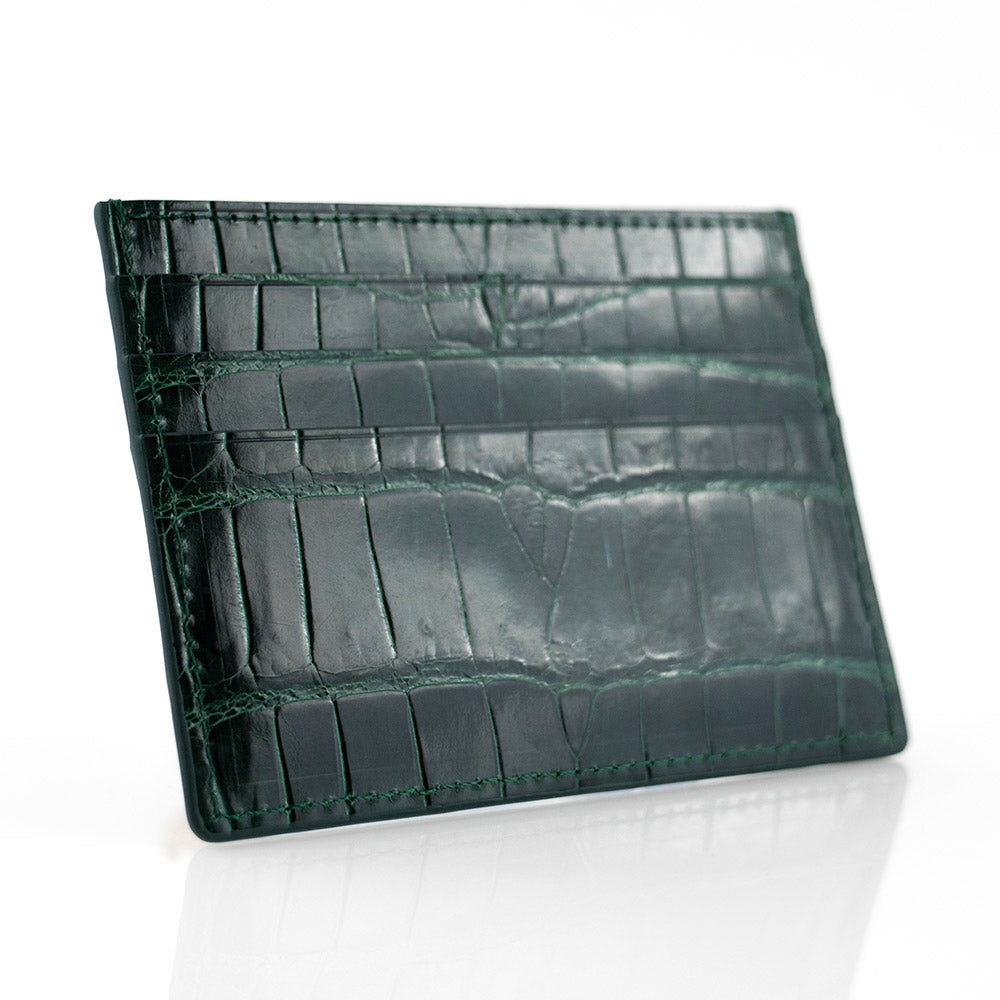 Green Crocodile Skin Card Holder