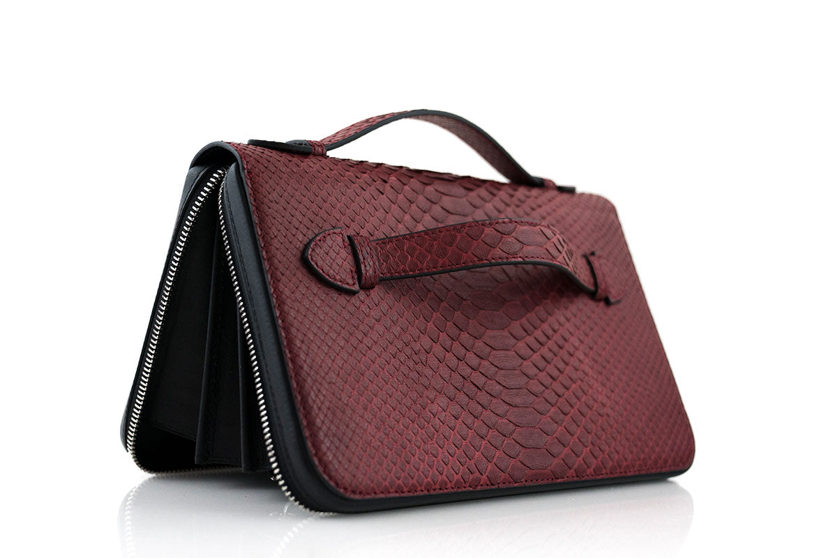 Berry Python Skin Travel Wallet