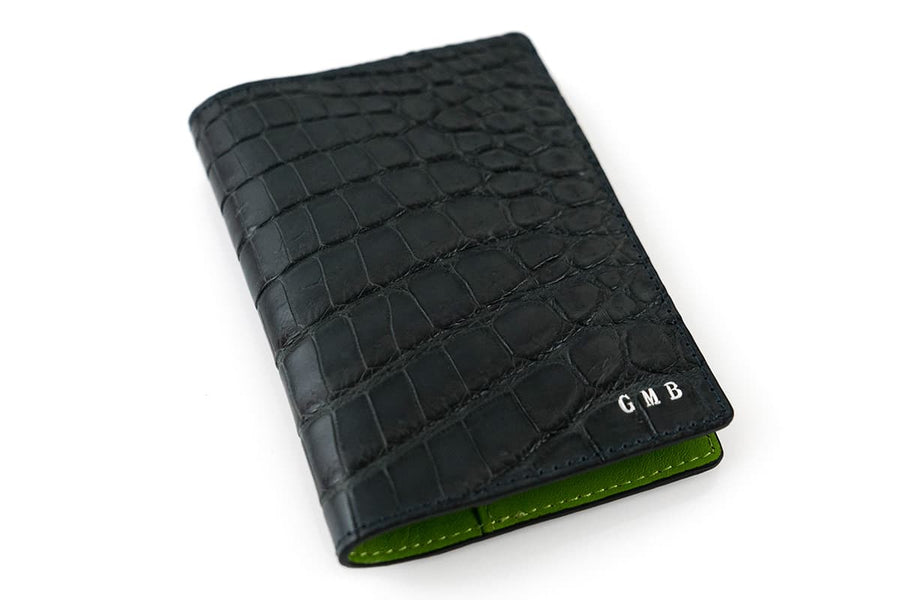 Black Croc Skin Card Case