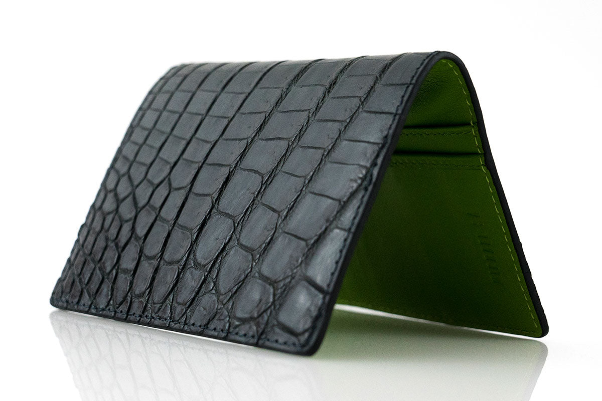 Black Crocodile Skin Card Holder