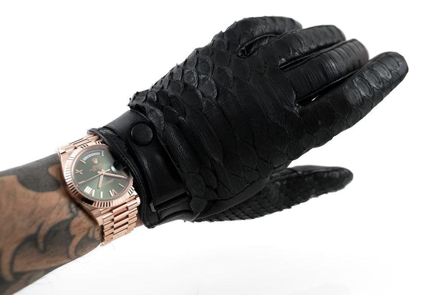 Black Python Skin Cashmere & Wool Lined Gloves