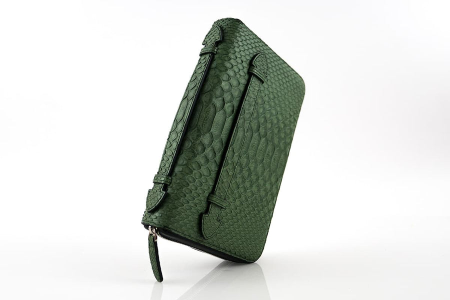 GREEN PYTHON SKIN TRAVEL CASE