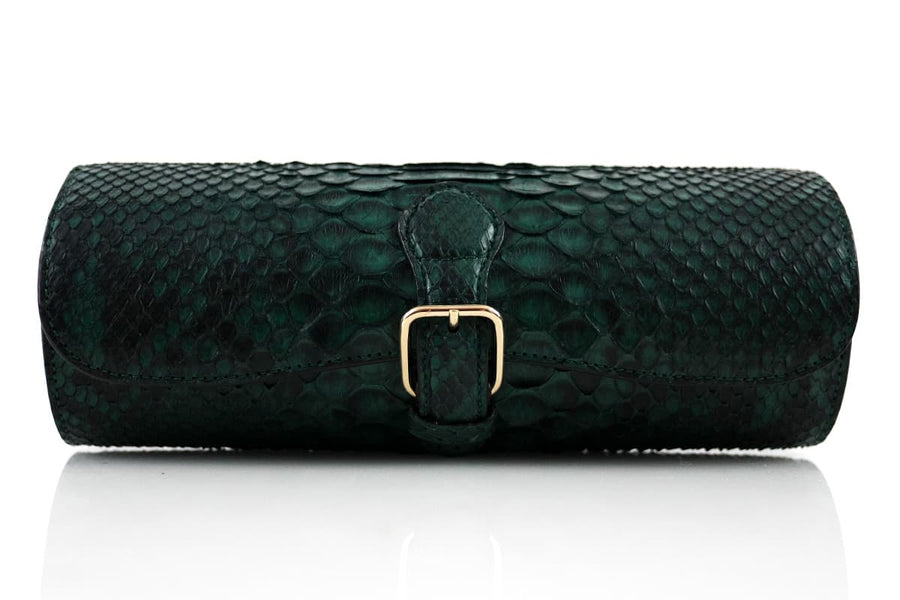 Natural Green Python Skin Watchroll