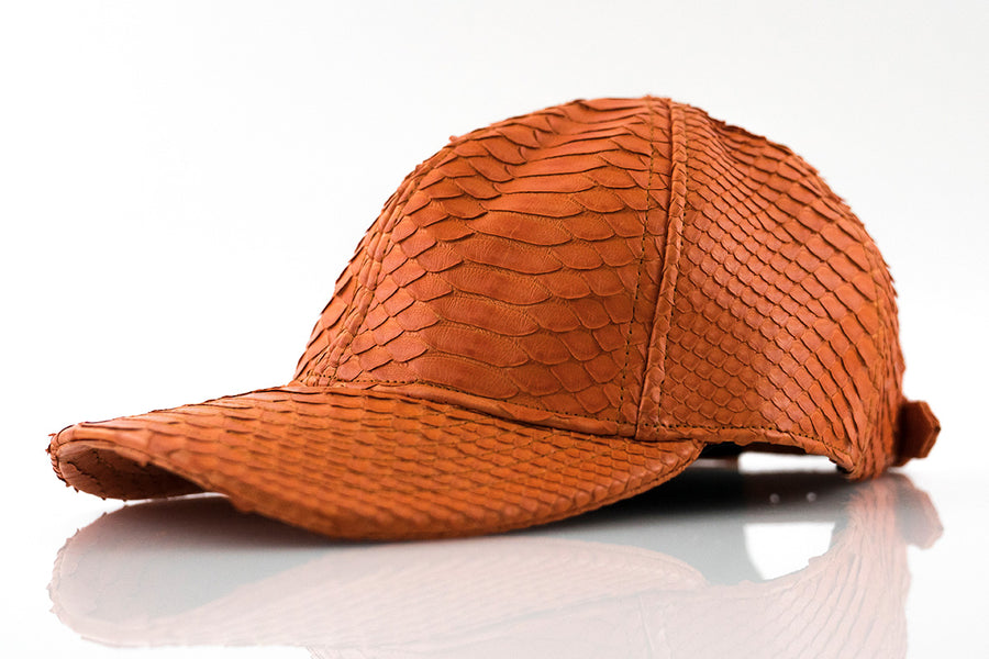 Orange Python Skin Hat