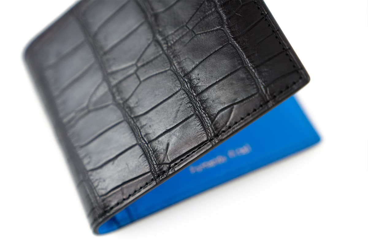 Personalized Black Croc Skin Wallet