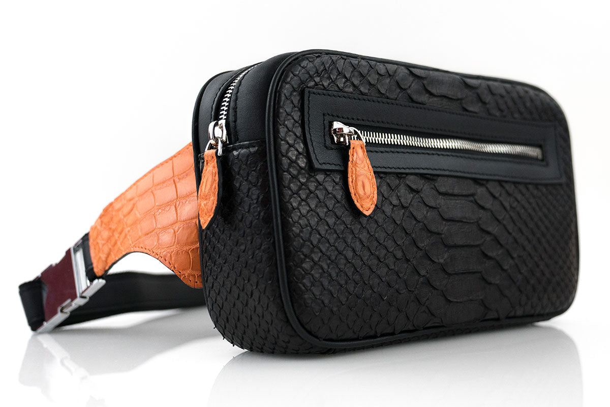 Personalized Crocodile & Python Skin Belt Bag
