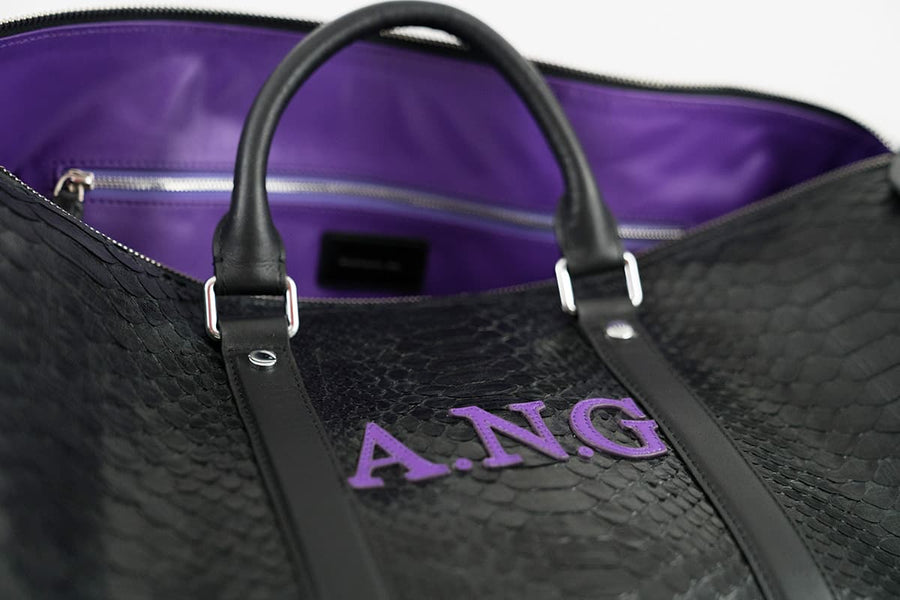 PURPLE PERSONALIZED PYTHON SKIN DUFFLE BAG