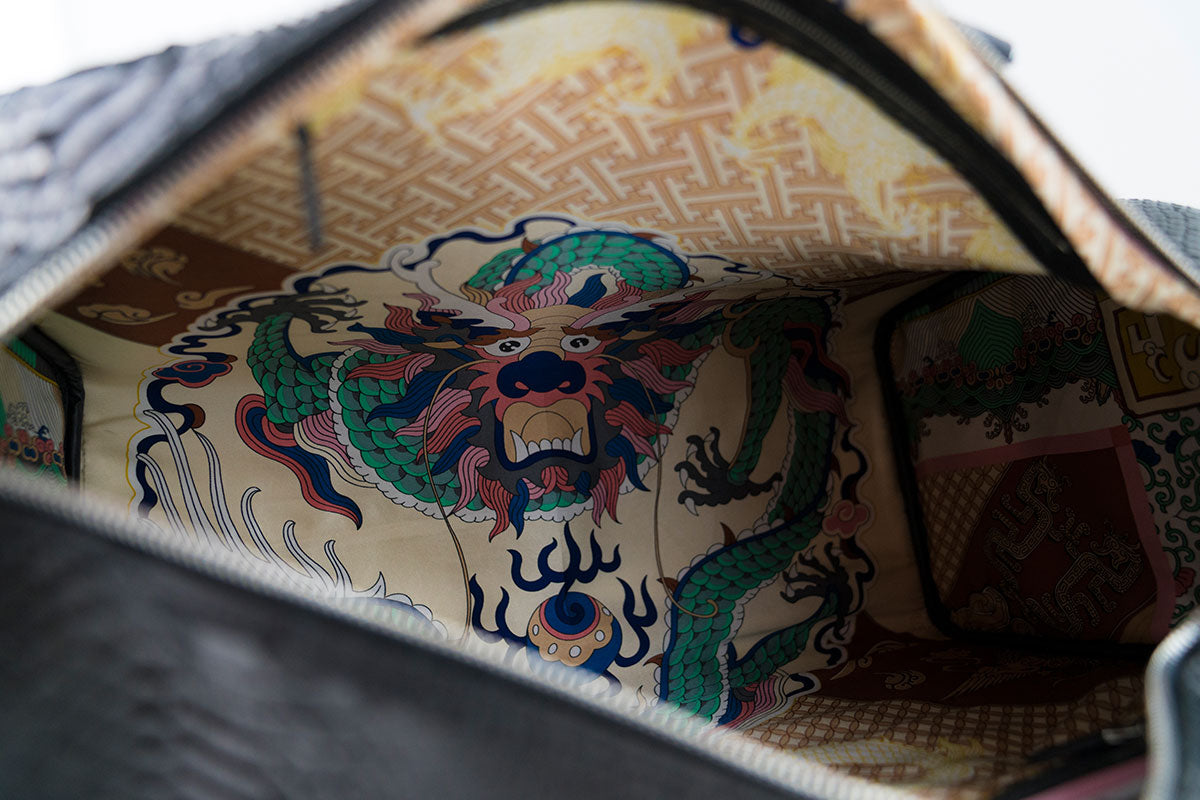 Silk Lined Japanese Themed Python Duffle