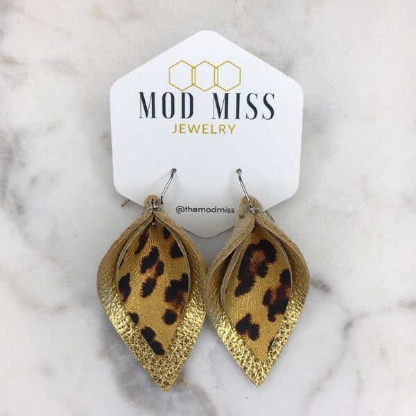 Metallic Stacked Leopard Petal Earrings