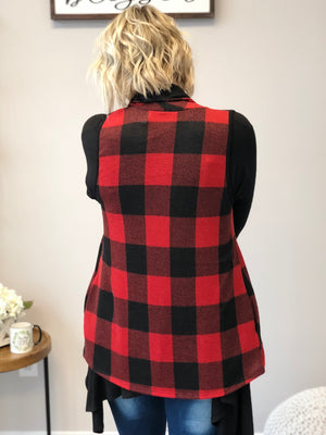 Perfectly Plaid Vest- Red