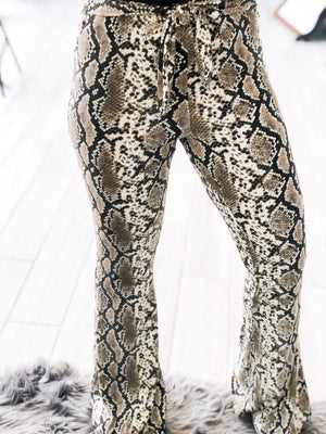 So Fancy Snakeskin Flare Pants
