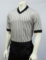 BKS205-Smitty Grey Performance Mesh V-Neck Shirt w/ Black Pinstripes