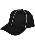HT100-Smitty Black w/ White Piping Flex Fit Football Hat