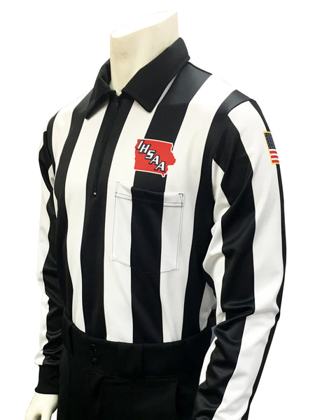 USA730225IA-Dye Sub Iowa Football Foul Weather Water Resistant Long Sleeve Shirt 2.25inch Stripe