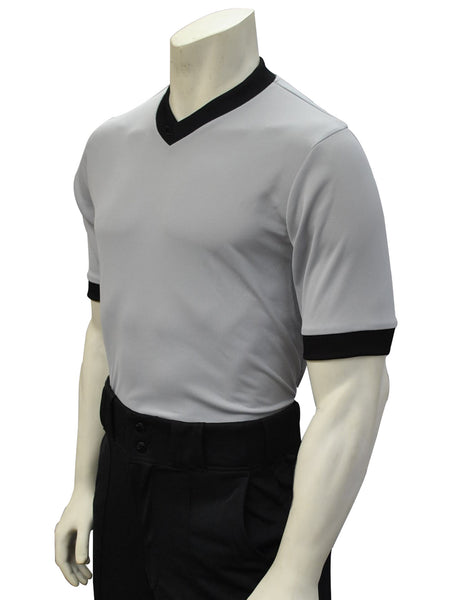 USA218- Smitty USA - Solid Grey Mesh V-Neck Shirt w/ Black Collar and Sleeve Ends