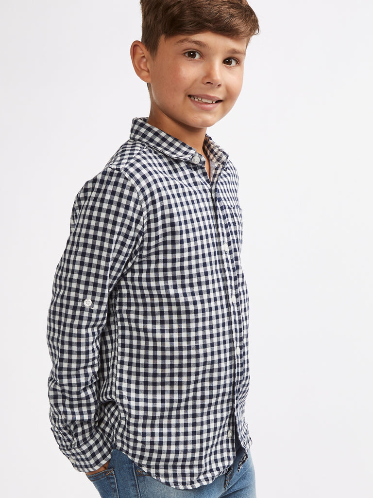 Blue/Cream Check Shirt 8-14 Years