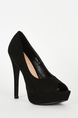 Black Faux Suede High Heel Platform Shoes