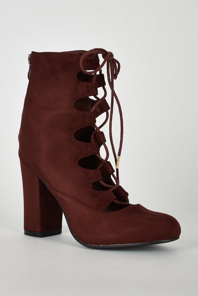 Lace Up Faux Suede Ankle Boot in Burgundy Red