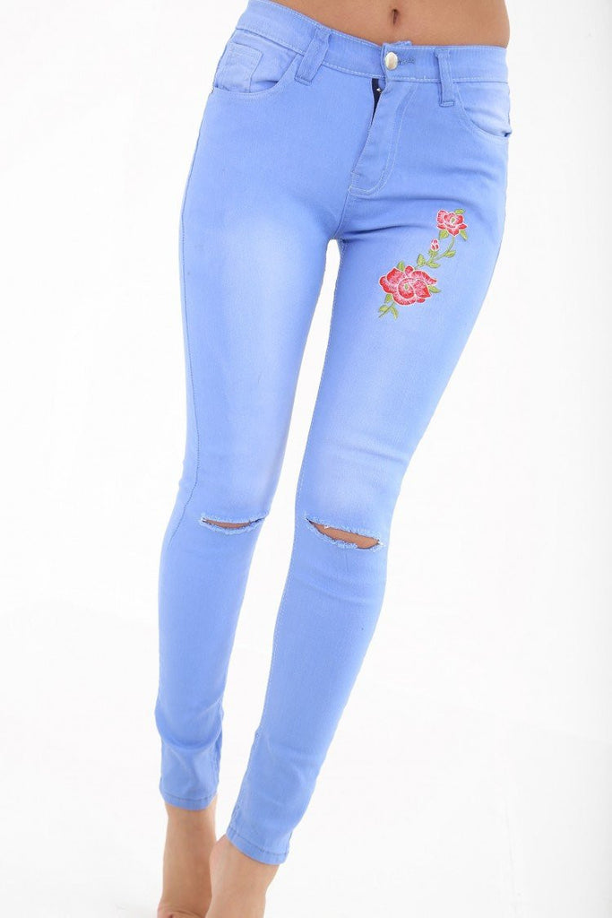 Floral Embroidered Knee Cut Jeans