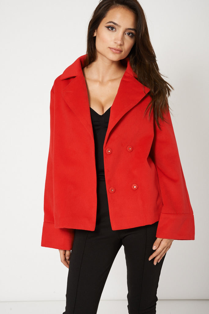 Relaxed Fit Short Coat In Red