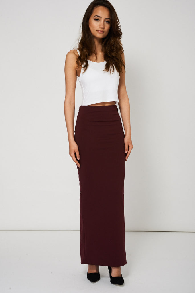 Burgundy Maxi Pencil Scuba Skirt Available In Plus Sizes