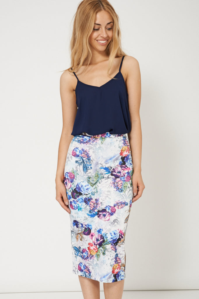 Fashionable Floral Print Pencil Skirt
