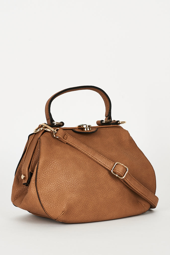Textured Brown Bag With Clasp Detail