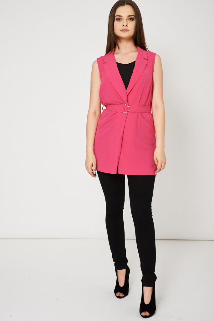 Fuchsia Pink Belted Vest Available In Plus Sizes
