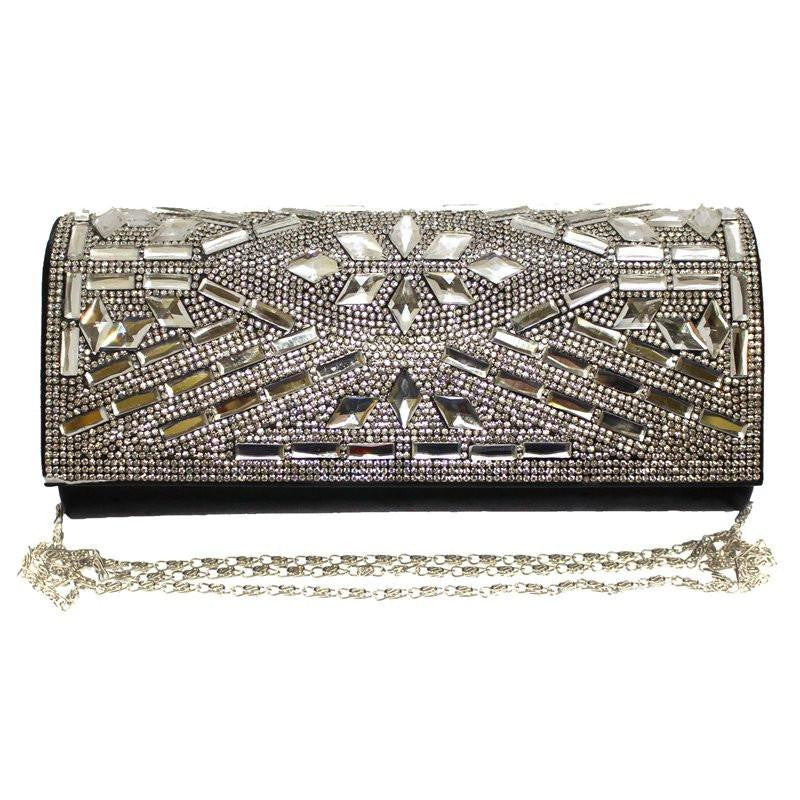 Diamante Shiny Metallic Clutch With Long Chain
