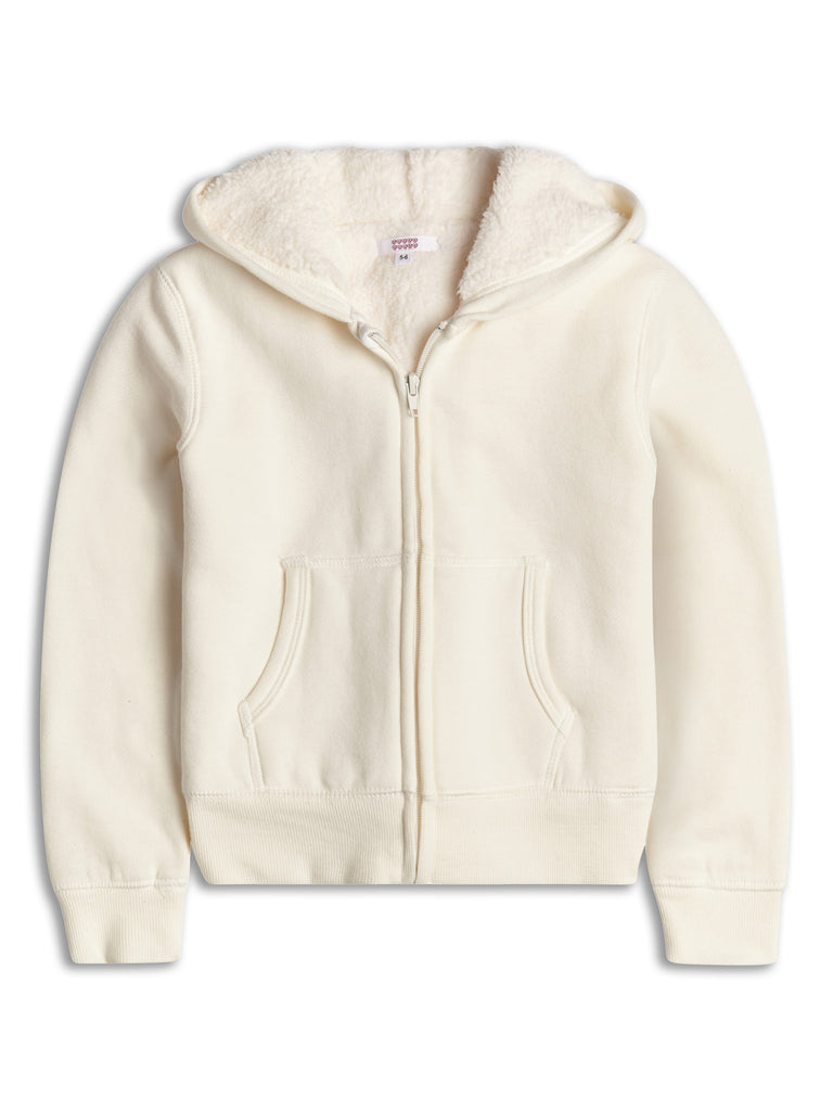 Cream Zip Hoodie With Sherpa Lining 2-14 Years