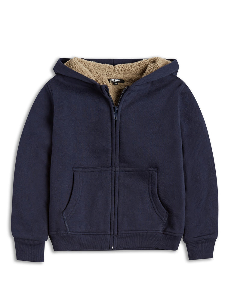Blue Zip Hoodie With Sherpa Lining 8-14 Years