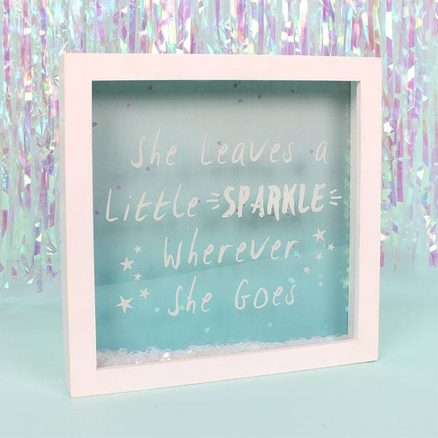 """She leaves a little sparkle"" Glitter Box Frame"