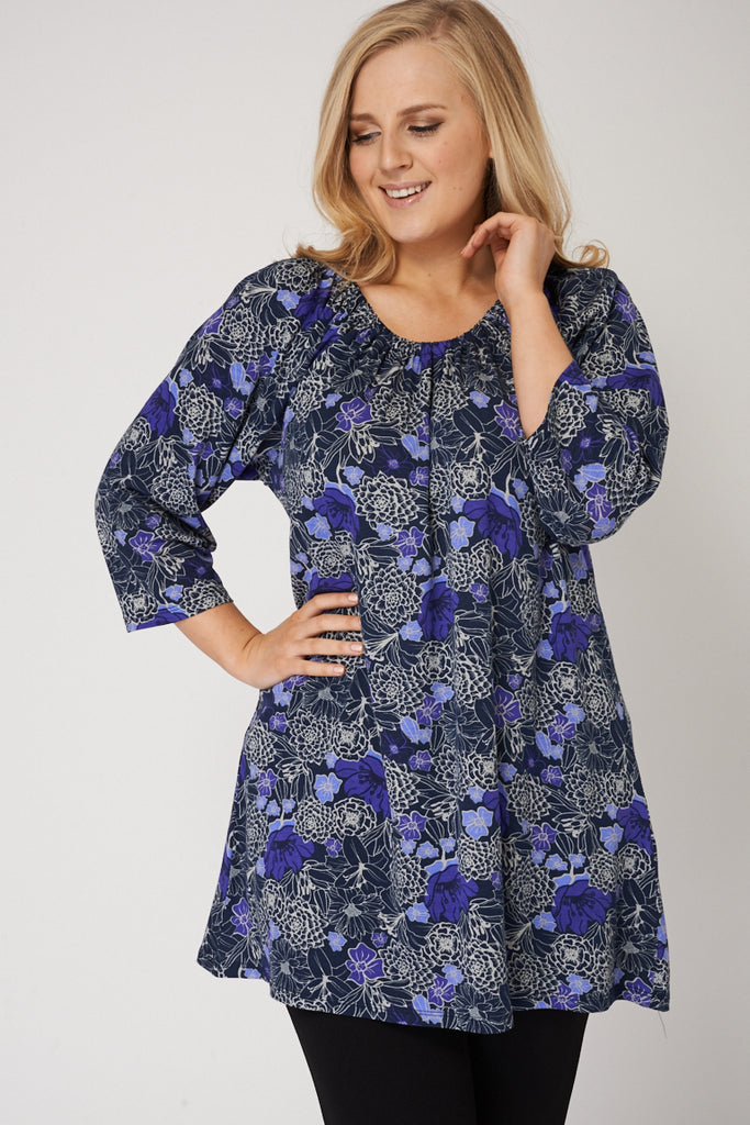 Floral Designed Top With Elasticated Neckline