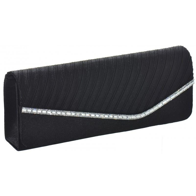 Diamanté Ribbed Satin Black Clutch With Long Chain