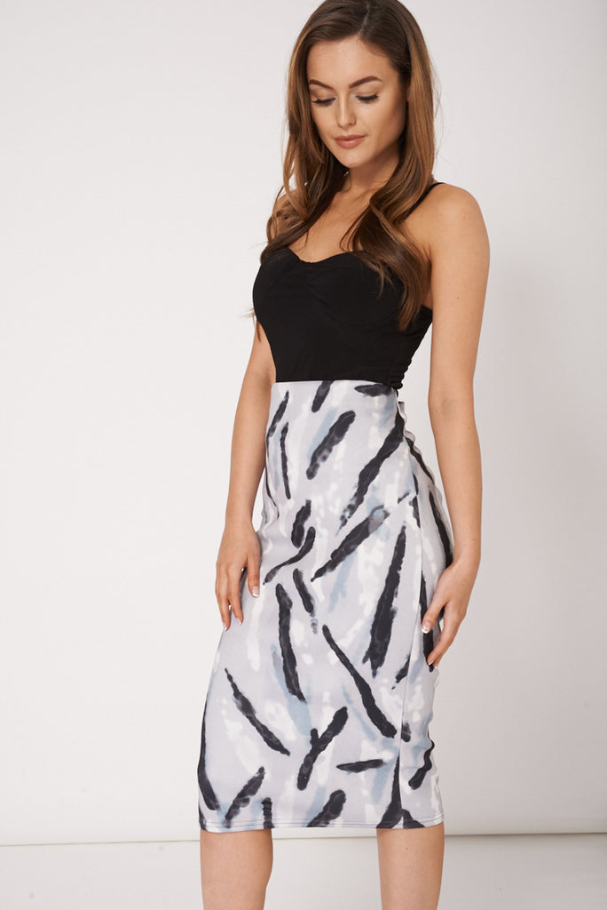 Abstract Print Scuba Skirt Available In Plus Sizes