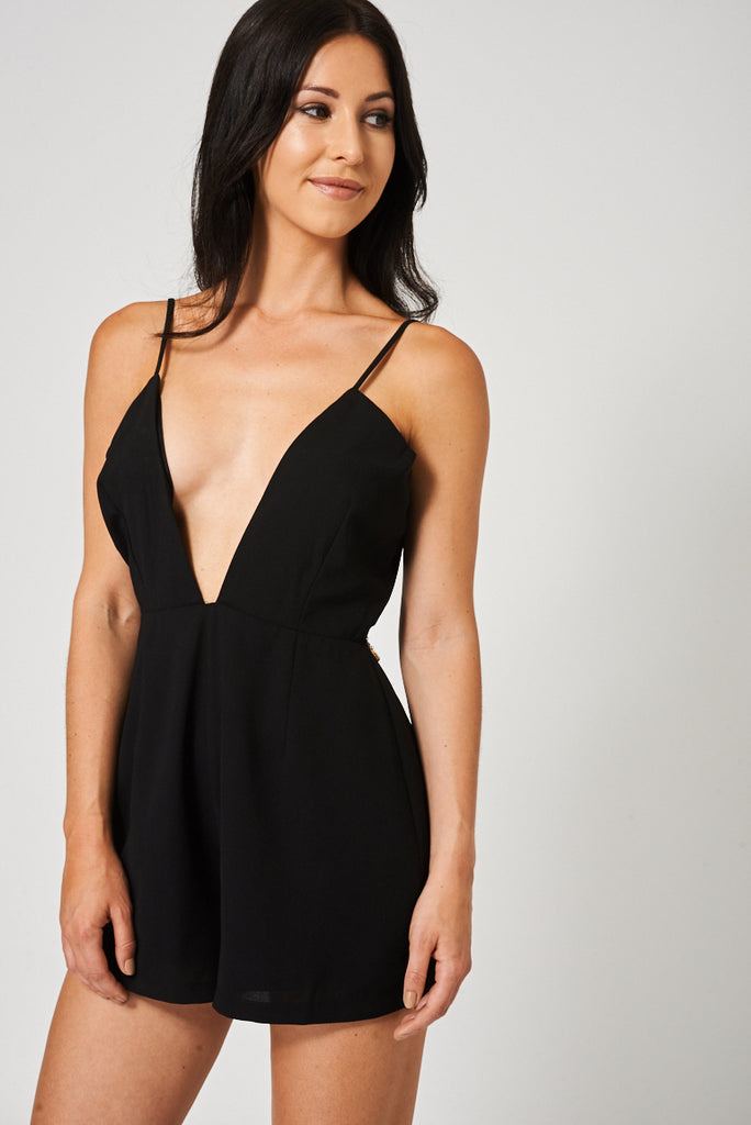 Deep V Neck Playsuit With Back Chain Detail