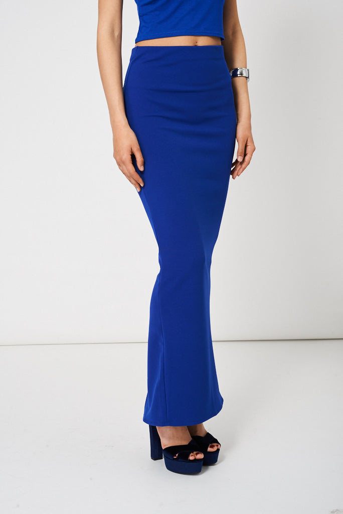 Blue Maxi Pencil Scuba Skirt Available In Plus Sizes