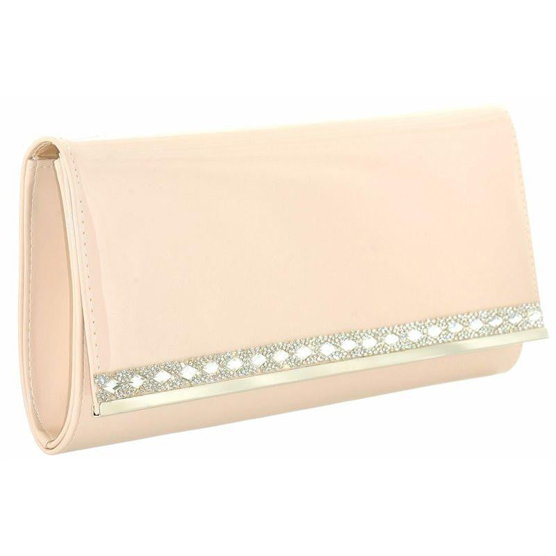 Patent Fashion Clutch Bag With Long Chain