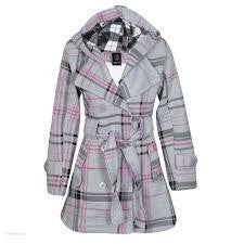 Light Grey Military Check Belted Fleece Hooded Coat