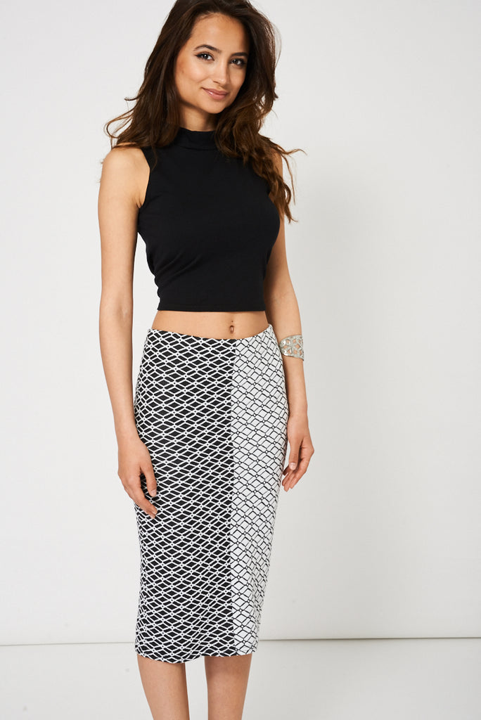 Black And White Textured Pencil Skirt Available In Plus Sizes