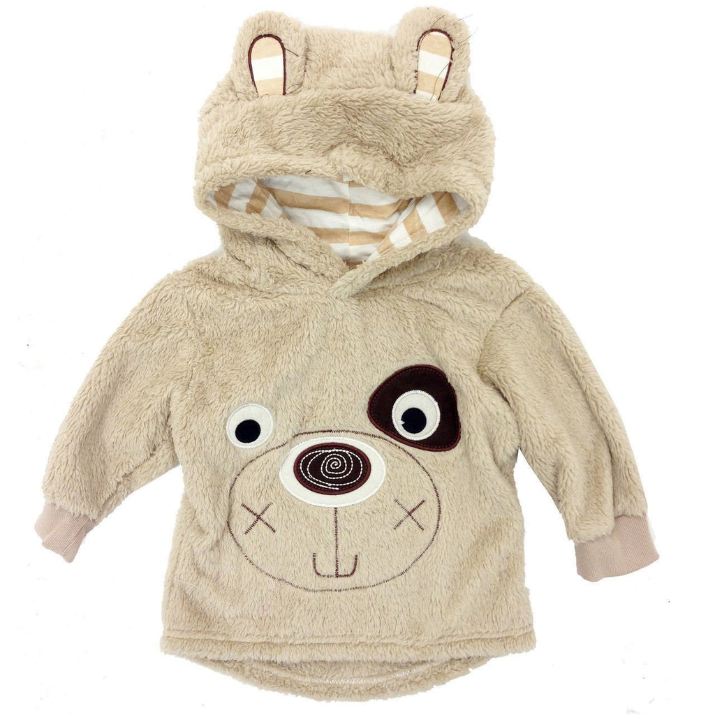 Freaky Boys Bear Print Fleece Pullover Hoodies Brown 1-5 Years