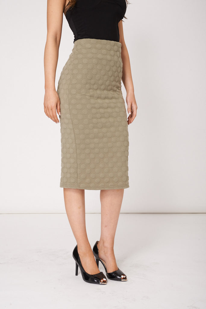 Khaki Pencil Skirt Available In Plus Sizes