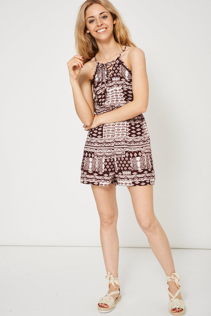 Burgundy And White Playsuit With Abstract Print