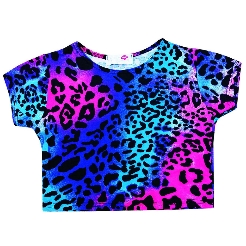 Minx Girls Crop Top Multi Aniaml Print Neon Mixed 7-13 Years